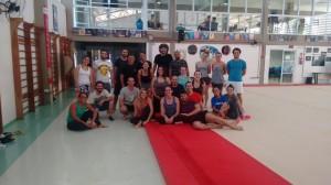 Aula de trapézio na disciplina EF962 na FEF-UNICAMP com o mestre Alex Brede, agosto de 2017