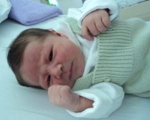 Alicia em seu primeiro dia de vida (extra-uterina)