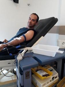 Doando sangue no Hemocentro da Unicamp em Dez. de 2017.