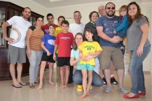 Família Bellotto-Bortoleto recebendo a visita da Família Mardegam, jun 2014