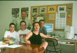 Jaime, Olga, Cristina no Laboratório de Praxiologia Motriz - Lleida, 2002