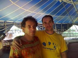 Ao lado do amigo Maneco Maracá - Escola Circo Laheto - Goiânia