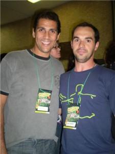 Marco e Mauricio, campeão olímpico de volei, no Tênis Clube - Campinas 2008