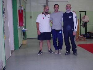 Marco e os técnicos Miguel e Oskar Escalante, CAR - Sant Cugat, BCN 2004