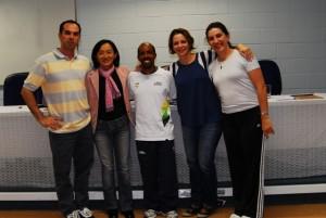 Marcos Goto e amigas pesquisadoras da ginástica - FEF - UNICAMP, maio de 2012