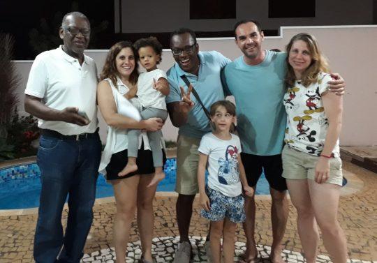 Teresa, Miguel e nós, visita em casa em dezembro de 2018.