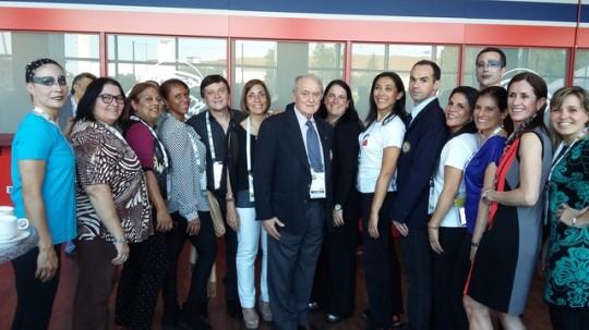Representantes da União Panamericana de Ginástica com o Presidente da FIG Prof. Bruno Grandi em Helsinque, jul. 2015.